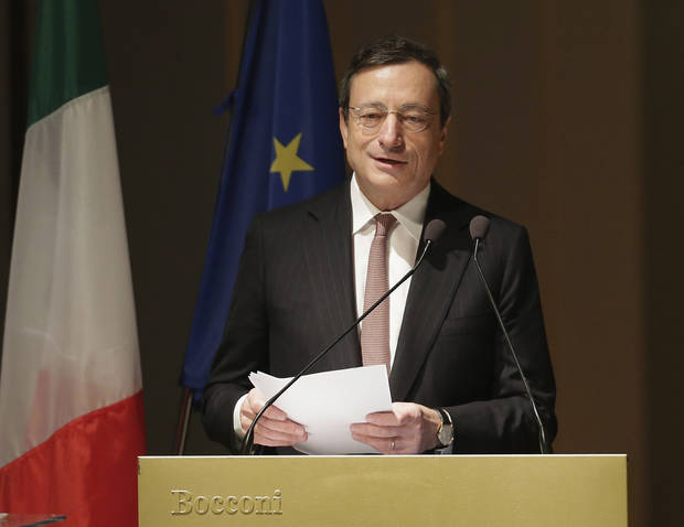 European Central bank President Mario Draghi delivers his speech during the opening ceremony of the academic year of the Bocconi University in Milan, Italy, Thursday, Nov. 15, 2012. The 17-country eurozone has fallen back into recession for the first time in three years as the fallout from the region�s financial crisis was felt from Amsterdam to Athens. And with surveys pointing to increasingly depressed conditions across the eurozone at a time of high unemployment in many countries, there are fears that the recession will deepen, and make the debt crisis _ calmer of late _ even more difficult to handle. (AP Photo/Antonio Calanni)