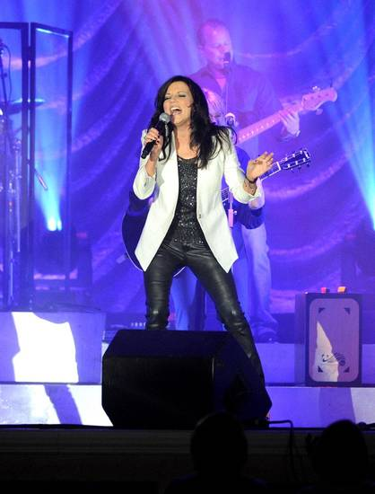 In this photo provided by the Las Vegas News Bureau, country music star Martina McBride performs at Green Valley Ranch Resort in Las Vegas, Friday, Aug. 3, 2012. (AP Photo/Las Vegas News Bureau, Brian Jones) ORG XMIT: NY168