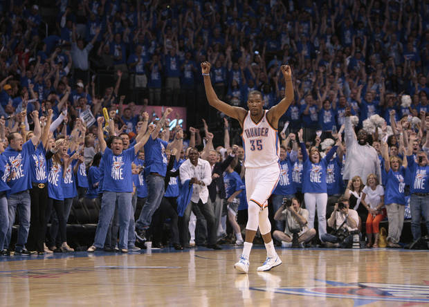 Oklahoma City's Kevin Durant (35) celebrates his game-winning shot during game one of the first round in the NBA playoffs between the Oklahoma City Thunder and the Dallas Mavericks at Chesapeake Energy Arena in Oklahoma City, Saturday, April 28, 2012. Photo by Sarah Phipps, The Oklahoman