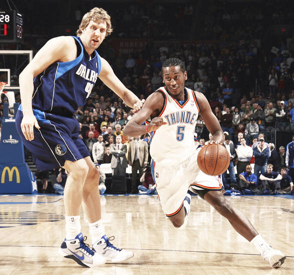 Thunder guard Kyle Weaver, right, has been instrumental in Oklahoma City's recent hot streak. He has scored 12.8 points per game over the last eight. Photo by Nate Billings, The Oklahoman