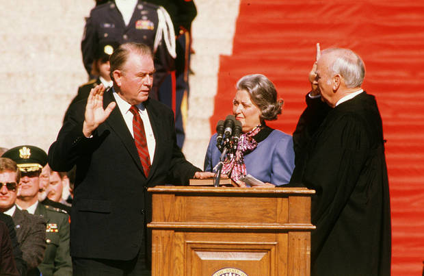 Swearing in: Henry Bellmon being sworn in as governor, 1/13/1987