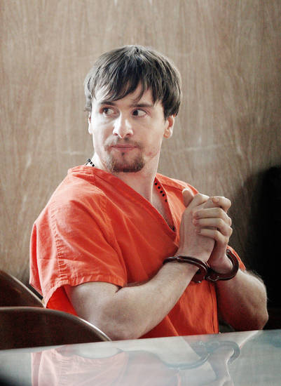 Billy Michael Thompson sits in a courtroom during his hearing Wednesday at the Oklahoma County Courthouse in Oklahoma City.  Photo by Paul B. Southerland, The Oklahoman