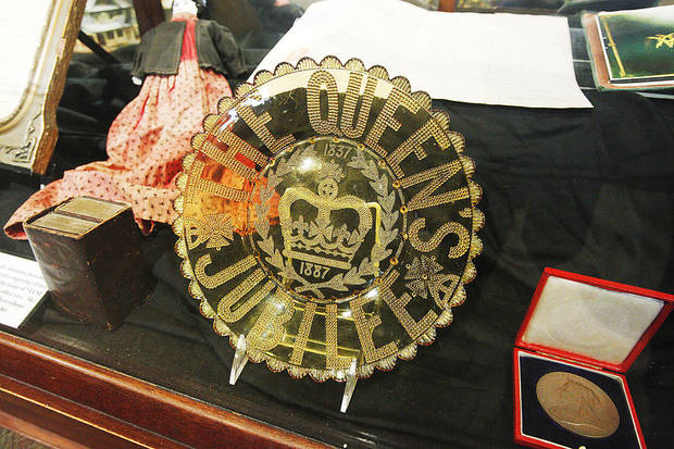 An 1887 commemorative plate used for Queen Victoria's golden jubilee is on display at the Chisholm Trial Museum in Kingfisher. Photo by Paul B. Southerland, The Oklahoman <strong>PAUL B. SOUTHERLAND - PAUL B. SOUTHERLAND</strong>