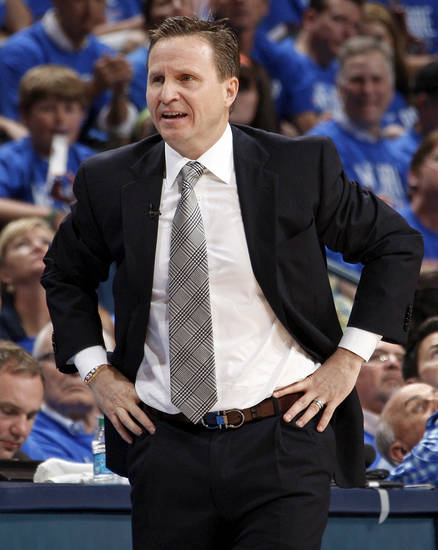 Oklahoma City head coach Scott Brooks reacts to a call during game one of the first round in the NBA playoffs between the Oklahoma City Thunder and the Dallas Mavericks at Chesapeake Energy Arena in Oklahoma City, Saturday, April 28, 2012. Photo by Nate Billings, The Oklahoman