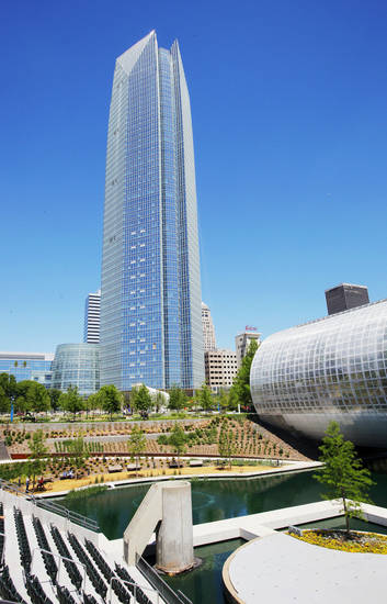 The Devon Energy Center with the Myriad Botanical Gardens in the foreground is shown April 17 in Oklahoma City. Photos by Paul B. Southerland, The Oklahoman Archives