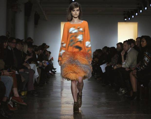 An outfit from the Peter Som fall 2014 runway show in New York. AP PHOTO
