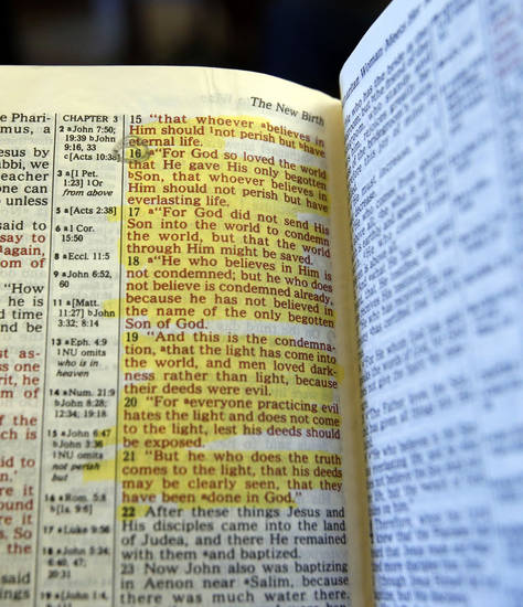 Chanda Turner&#039;s bible shows highlights and a circle of the verse John 3:16 on Wednesday, Dec. 5, 2012 in Elmore City, Okla.  The bible was found years after her death at a thrift store and returned to her mother Donna Turner.   Photo by Steve Sisney, The Oklahoman