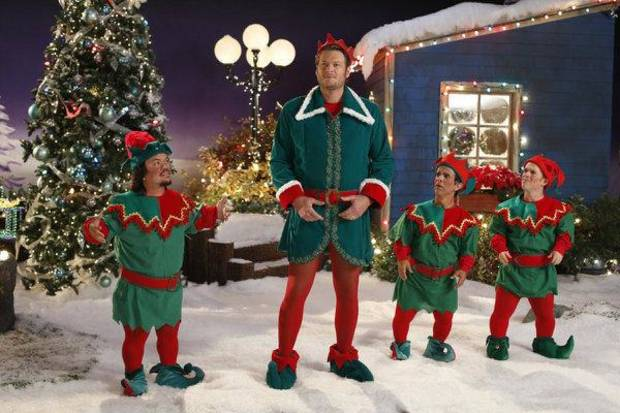 "Oklahoma country music superstar Blake Shelton dons tights and frolics with elves on his first holiday TV special, ""Blake Shelton's Not-So-Family Christmas,"" airing Monday night on NBC. Photo by Lewis Jacobs/NBC <strong>NBC</strong>"