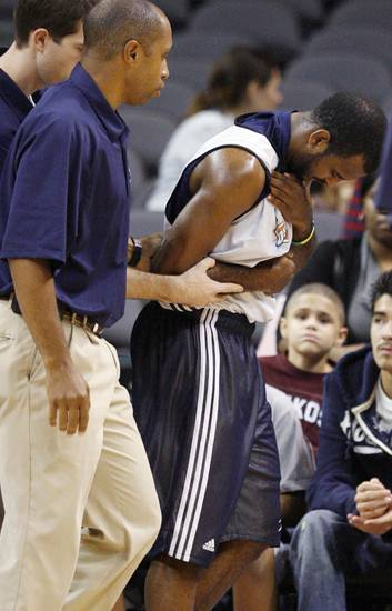 John Lucas walks off the court after being hurt during the open practice for the Oklahoma City Thunder NBA basketball team at the Ford Center in Oklahoma City, Monday, October 20, 2008. BY NATE BILLINGS, THE OKLAHOMAN