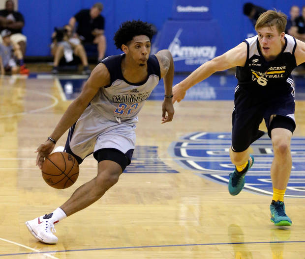 <p>Thunder guard Cameron Payne dribbles past Pacers guard Nate Wolters during the second half of Wednesday's summer league matchup in Orlando, Fla. [AP photo]</p>