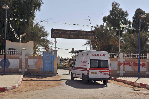 An ambulance enters an hospital located near the gas plant where hostages have been kidnapped by Islamic militants, in Ain Amenas, Saturday, Jan. 19, 2013. Algeria's special forces stormed the natural gas complex in the middle of the Sahara desert in a final assault Saturday, killing 11 militants, but not before they in turn killed seven hostages, the state news agency reported.(AP Photo/Anis Belghoul)