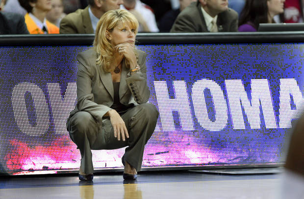 Head Coach Sherri Coale watches her team in the first half as the University of Oklahoma (OU) plays Georgia Tech in round two of the 2009 NCAA Division I Women's Basketball Tournament at Carver-Hawkeye Arena at the University of Iowa in Iowa City, IA on Tuesday, March 24, 2009. 