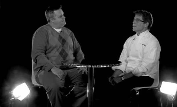 The Oklahoman food editor Dave Cathey interviews celebrity chef Rick Bayless in the NewsOK studios. 