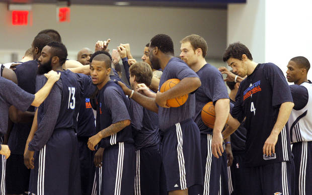 Oklahoma City huddles after practice during Oklahoma City Thunder's practice at their new facility in Oklahoma City, Friday, Dec. 9, 2011. Photo by Sarah Phipps, The Oklahoman