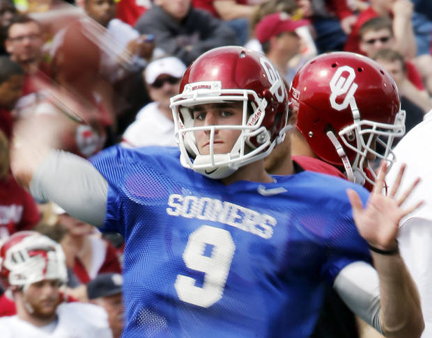 Trevor Knight (9) warms up before the annual Spring Football Game at Gaylord Family-Oklahoma Memorial Stadium in Norman, Okla., on Saturday, April 13, 2013. Photo by Steve Sisney, The Oklahoman