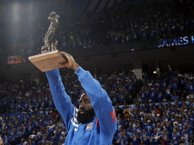 Oklahoma City's James Harden (13) holds up the  Sixth Man of the Year Award before  Game 1 in the second round of the NBA playoffs between the Oklahoma City Thunder and the L.A. Lakers at Chesapeake Energy Arena in Oklahoma City, Monday, May 14, 2012. Photo by Sarah Phipps, The Oklahoman