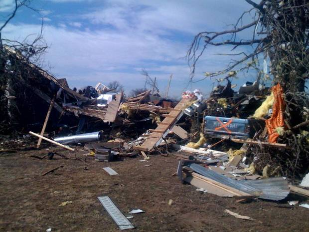 Damage from Tuesday's tornado in Long Grove, Oklahoma, as seen on Thursday February 12, 2009. Photo by Johnny Johnson.