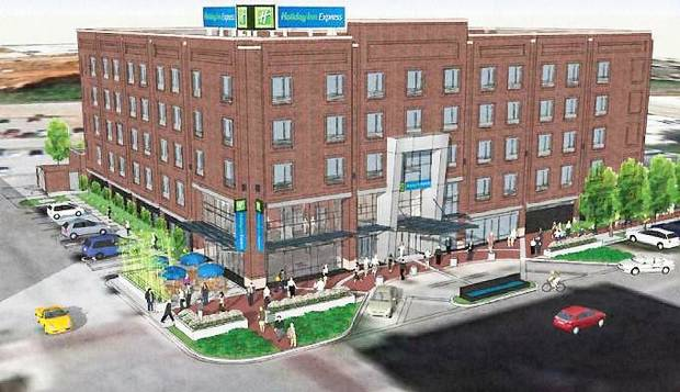 The design for a proposed Bricktown Holiday Inn Express is shown in this drawing. Drawing provided by Architectural Design Group