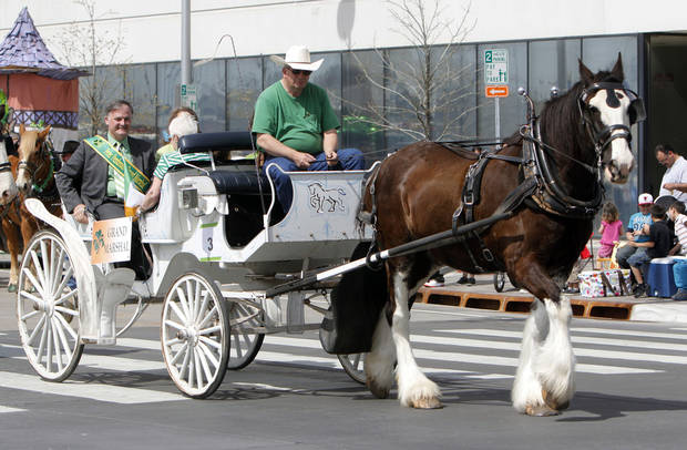 Peter Pembroke was the Grand Marshal of this year's Saint Patrick's Day Parade in downtown Oklahoma City, OK, Saturday, March 16, 2013,  By Paul Hellstern, The Oklahoman