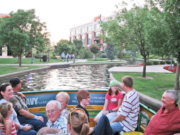 The same view of the Bricktown Canal today shows the once undeveloped Lower Bricktown built into a mix of restaurants, shops, a hotel and entertainment venues.PHOTO PROVIDED BY WATER TAXI