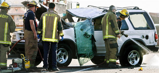 One person in this white SUV died in a two vehicle crash on I-240 near Walker in south Oklahoma City Tuesday morning, Sept.  16, 2008.  BY JIM BECKEL, THE OKLAHOMAN