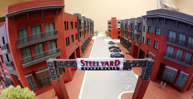 Model of proposed Steelyard Apartments on the east edge of Bricktown, on Thursday, Sep. 25, 2014.  Photo by Jim Beckel, The Oklahoman