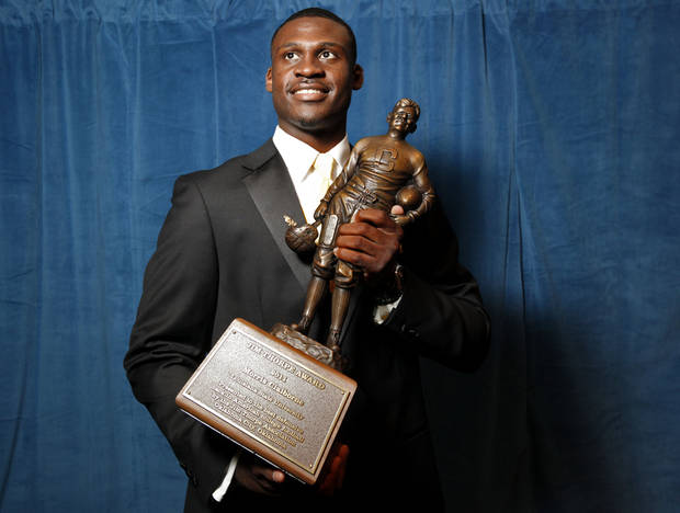 LSU's Morris Claiborne poses with the Jim Thorpe award before the Jim Thorpe Awards at the National Cowboy & Western Heritage in Oklahoma City, Tuesday, Feb. 7, 2012. Photo by Sarah Phipps, The Oklahoman
