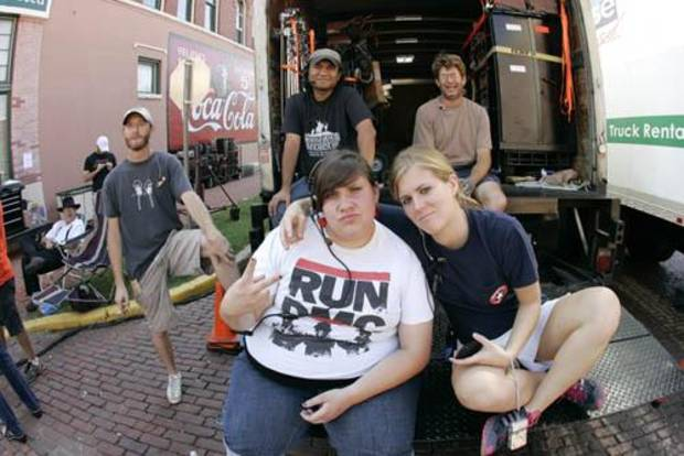 "Crew on the film ""Pearl"" in Guthrie, Okla."