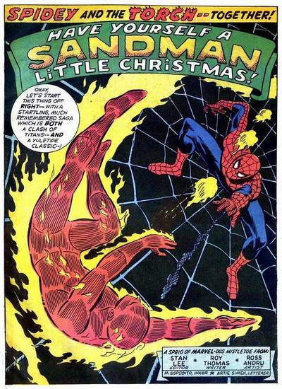 "Spider-Man and the Human Torch team up on Christmas Eve in the 1972 cover-dated ""Marvel Team-Up"" No. 1."