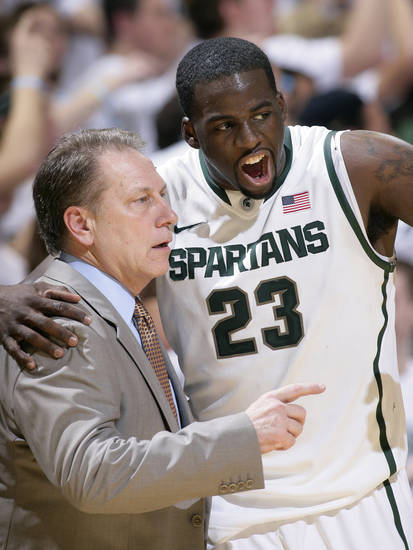 FILE- In this Feb. 16, 2012, file photo, Michigan State's Draymond Green (23) talks with coach Tom Izzo during the first half of an NCAA college basketball game against Wisconsin, in East Lansing, Mich. Green, the lone senior on The Associated Press' All-America team, expects to be selected between the 20th and 30th pick in the NBA draft next month. At least one executive in the league said Green's expectations are realistic. (AP Photo/Al Goldis, File)