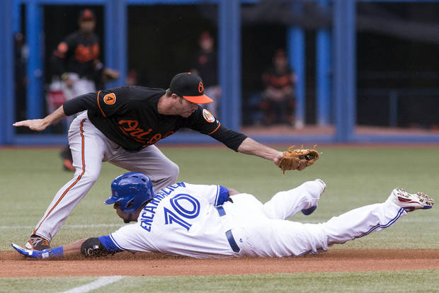 Toronto Blue Jays' Edwin Encarnacion, right, steals second base in front of Baltimore Orioles' J.J Hardy after a fielders error during the first inning of abaseball game in Toronto on Friday, June 21, 2013. (AP Photo/The Canadian Press, Chris Young)