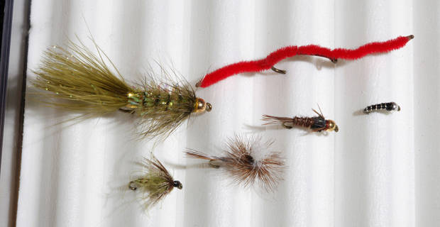 Top two: Woolly Bugger and San Juan Worm, Bottom four: Olive Soft Hackle, Parachute Adams, Gold Bead Pheasant and Zebra Midge for fly fishing at Backwoods in Oklahoma City Thursday, Jan. 17, 2013.  Photo by Paul B. Southerland, The Oklahoman