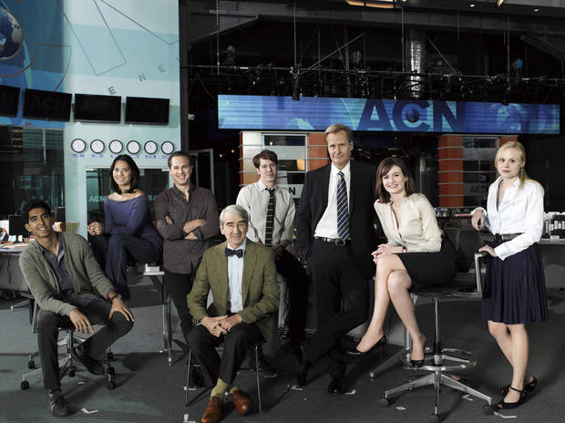 """The Newsroom"" cast, from left: Dev Patel, Olivia Munn, Thomas Sadoski, Sam Waterston, John Gallagher, Jr., Jeff Daniels, Emily Mortimer, Alison Pill. - HBO Photo"