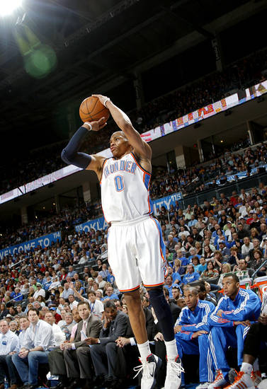 Oklahoma City's Russell Westbrook takes an open shot against Toronto during their NBA basketball game at the OKC Arena in downtown Oklahoma City on Sunday, March 20, 2011. Photo by John Clanton, The Oklahoman