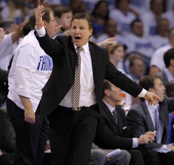 Oklahoma City coach Scott Brooks reacts during game five of the Western Conference semifinals between the Memphis Grizzlies and the Oklahoma City Thunder in the NBA basketball playoffs at Oklahoma City Arena in Oklahoma City, Wednesday, May 11, 2011. Photo by Bryan Terry, The Oklahoman