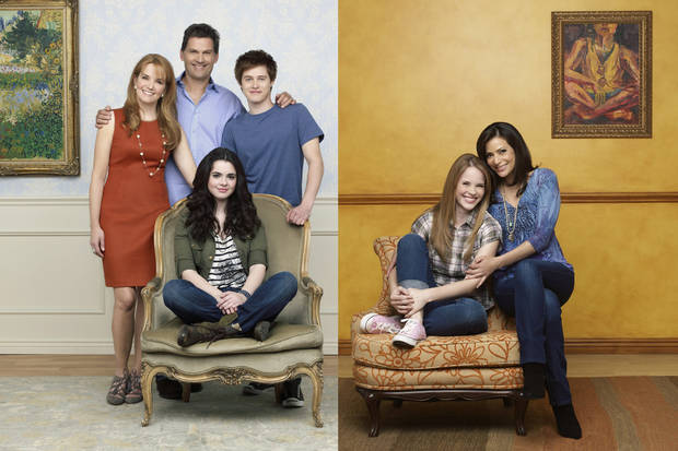 "SWITCHED AT BIRTH - ABC Family's ""Switched at Birth"" stars Lea Thompson as Kristen Kennish, D.W. Moffett as John Kennish, Vanessa Marano as Bay Kennish, Lucas Grabeel as TOby Kennish, Katie Leclerc as Daphne Vasquez and Constance Marie as Regina Vasquez. (ABC FAMILY/ANDREW ECCLES)"
