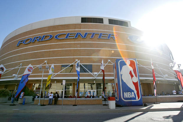 The Ford Center before the opening night NBA basketball game between the Oklahoma City Thunder and the Milwaukee Bucks on Wednesday, Oct. 29, 2008, at the Ford Center in Oklahoma City, Okla.