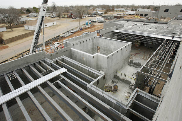 Construction progresses at the new U.S. Grant High School, being built with MAPS for Kids money in Oklahoma City, OK, Thursday, 1/19/06. This view is overlooking the tornado shelter. Staff photo by Paul Hellstern / THE OKLAHOMAN.