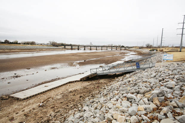 The Oklahoma River was drained to install a sewer line underneath the area near I-40 in Oklahoma City, Friday December 14, 2012. Photo By Steve Gooch, The Oklahoman