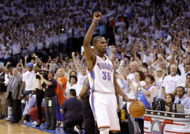 Oklahoma City's Kevin Durant (35) reacts in the finals seconds during Game 6 of the Western Conference Finals between the Oklahoma City Thunder and the San Antonio Spurs in the NBA playoffs at the Chesapeake Energy Arena in Oklahoma City, Wednesday, June 6, 2012. Oklahoma City won 107-99. Photo by Bryan Terry, The Oklahoman