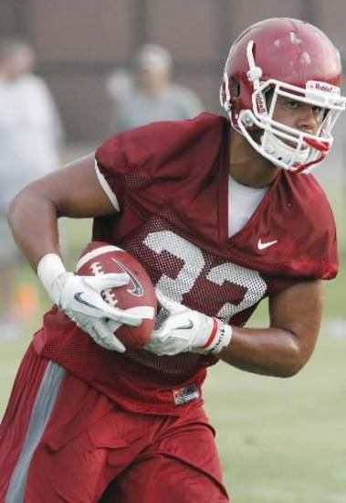 Trey Millard (33) runs during the University of Oklahoma (OU) Sooners first day of practice on Thursday, August 4, 2011, in Norman, Okla. Photo by Steve Sisney, The Oklahoman