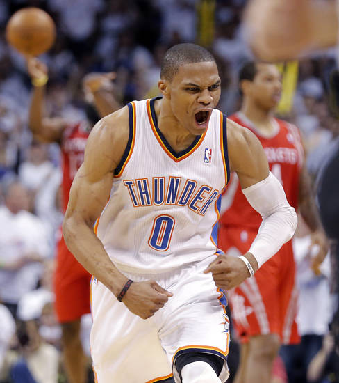Oklahoma City's Russell Westbrook (0) reacts after hitting a three point shot during Game 2 in the first round of the NBA playoffs between the Oklahoma City Thunder and the Houston Rockets at Chesapeake Energy Arena in Oklahoma City, Wednesday, April 24, 2013. Photo by Chris Landsberger, The Oklahoman