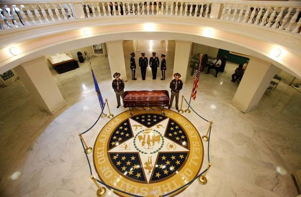 Oklahoma civil rights leader  Clara Luper was honored by the state as her body lay in repose on the first floor of the state Capitol, Thursday, June 16, 2011. Her dark wood casket remained closed as a pair of Oklahoma Highway Patrol troopers stood silently on either side of the casket. Photo by Jim Beckel, The Oklahoman