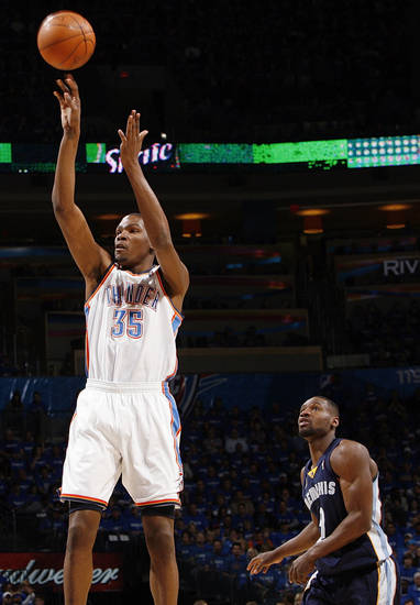 Oklahoma City&#039;s Kevin Durant (35) takes a shot in front of Tony Allen (9) of Memphis in the first half during game one of the Western Conference semifinals between the Memphis Grizzlies and the Oklahoma City Thunder in the NBA basketball playoffs at Oklahoma City Arena in Oklahoma City, Sunday, May 1, 2011. Photo by Nate Billings, The Oklahoman