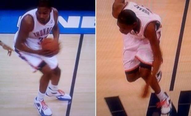 Kevin Durant clearly stepped over. But by league rule, he never established position in the frontcourt. (Via LarryBrownSports.com)