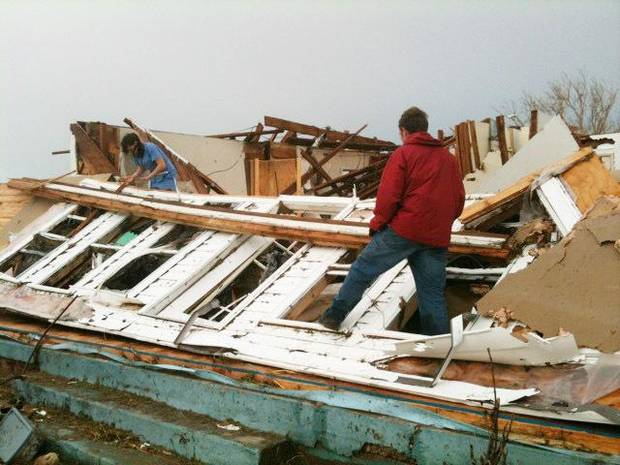Storm damage near SH 74 near Cashion. Photo by Jim Beckel, The Oklahoman
