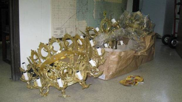 Police suspect an Oklahoma City man of stealing these chandeliers from a Norman church. <strong> - The Oklahoman</strong>