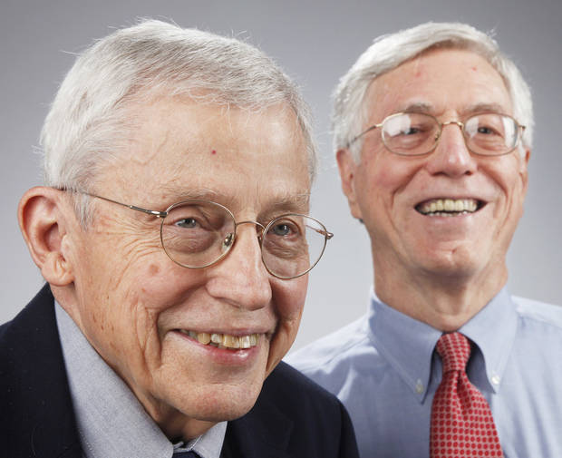 Larkin Warner, left, is regents professor emeritus of economics, Oklahoma State University, and Robert Dauffenbach is director of the Center for Economic and Management Research at the Price College of Business at the University of Oklahoma.  Photo by Doug Hoke, The Oklahoman
