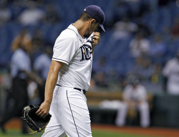 Tampa Bay Rays starting pitcher James Shields reacts as he leaves the field after giving up three runs to the Seattle Mariners during the first inning of a baseball game, Wednesday, May 2, 2012, in St. Petersburg, Fla. (AP Photo/Chris O'Meara)