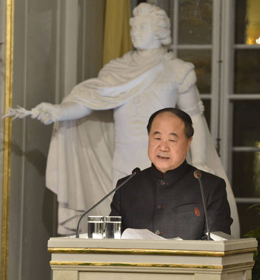 The 2012 Nobel Literature Prize laureate, Mo Yan of China, speaks Friday during the traditional Nobel lecture at the Royal Swedish Academy in Stockholm, Sweden. AP Photo <strong>Jonas Ekstromer</strong>